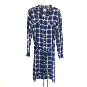 NEW Blue Cotton Flannel Shirt Dress / Tunic by Gap